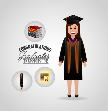 congratulations graduation student smiling books sign pen certificate vector illustration