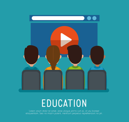 group of people with education online icons vector illustration design