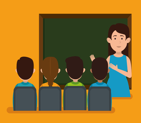 teacher with student characters vector illustration design Vectores