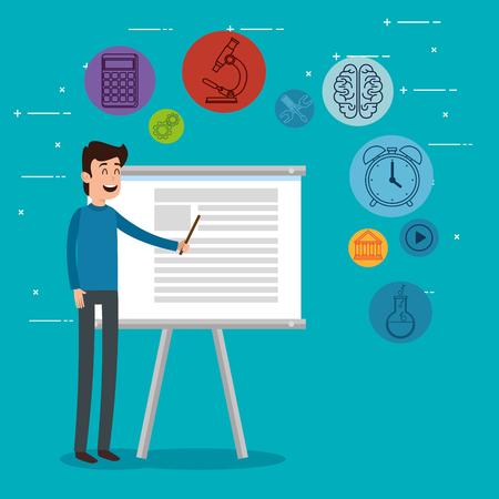 teacher man with education icons vector illustration design  イラスト・ベクター素材
