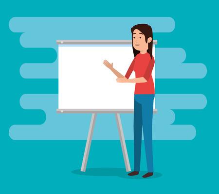 teacher woman with training board vector illustration design  イラスト・ベクター素材