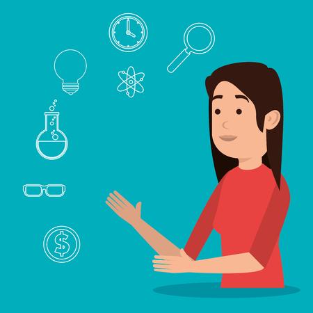 teacher woman with education icons vector illustration design 向量圖像
