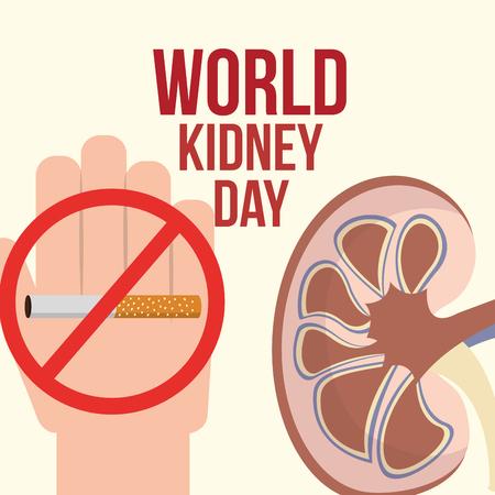 hand prohibited cigarette world kidney day vector illustration