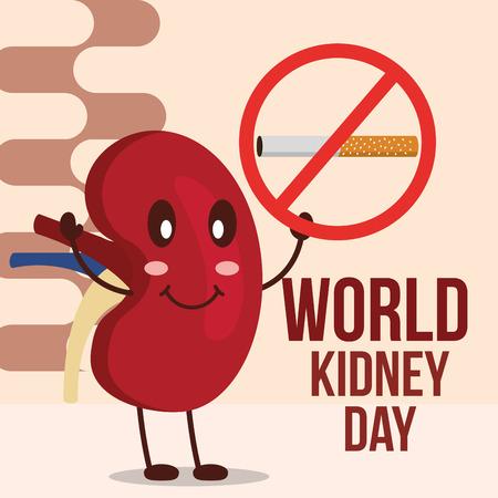 world kidney day happy organ prohibited cigarette vector illustration