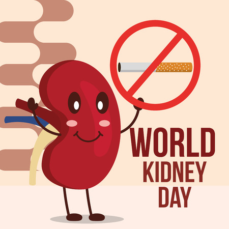 world kidney day happy organ prohibited cigarette vector illustration