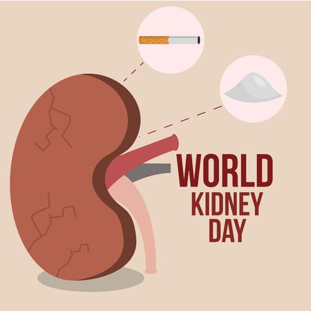world kidney day sick organ salt and cigarette vector illustration Illustration
