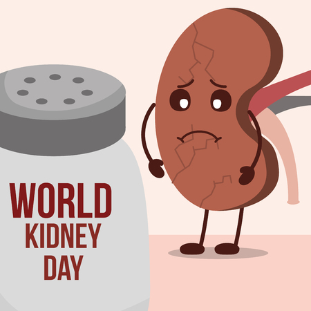 world kidney day sad organ cartoon and salt shaker vector illustration 写真素材 - 106086714