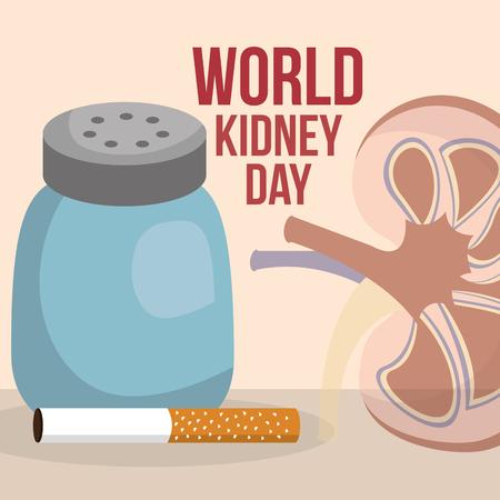 Weltnieren Tag menschliches Organsalz und Zigarettenvektorillustration Vektorgrafik