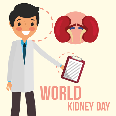 doctor with clipboard world kidney day vector illustration