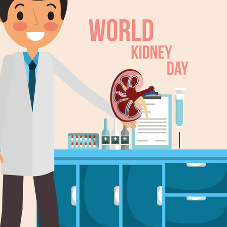 doctor in consultation room world kidney day vector illustration