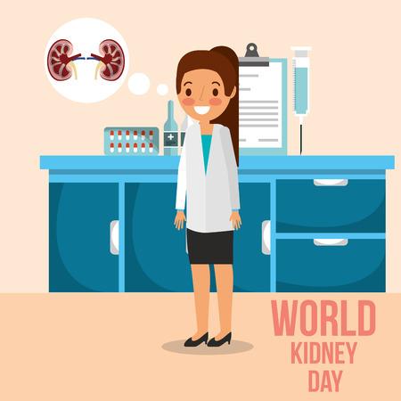 female doctor in consultation room talking kidney day vector illustration