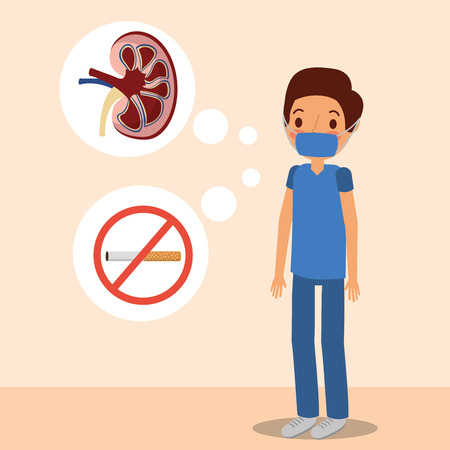 doctor surgeon kidney and prohibited tobacco vector illustration