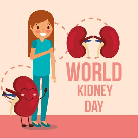 cute girl and cartoon kidney campaign vector illustration Illustration