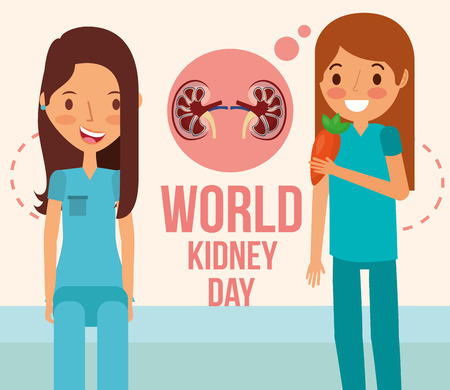 cute woman and girl with carrot world kidney day vector illustration