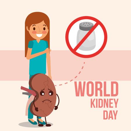 cute girl and sick kidney prohibited salt campaign vector illustration Illustration
