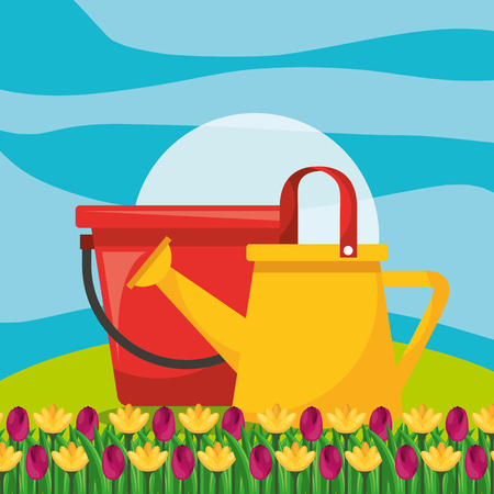watering can with bucket and flower garden vector illustration Stock Vector - 106117178