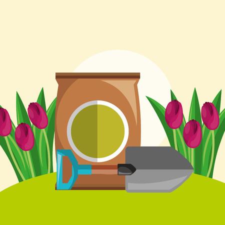 potting soil shovel and red tulips flowers garden vector illustration