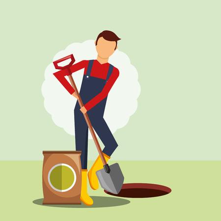 gardener digging hole with shovel vector illustration Stockfoto - 112133764