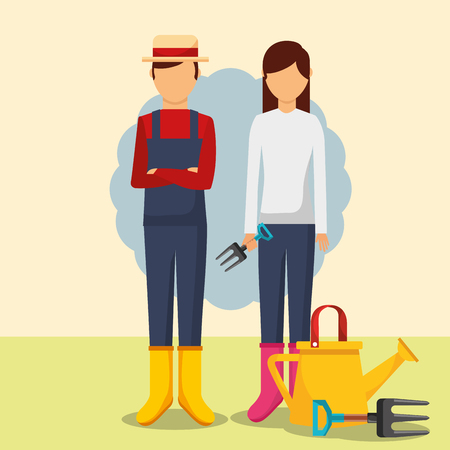 gardeners man and woman with watering can and forks vector illustration Stock Illustratie