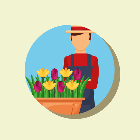 gardener portrait with hat and potted flowers gardening vector illustration 일러스트