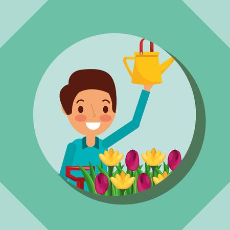 man cartoon holding watering can and flower garden vector illustration Illustration