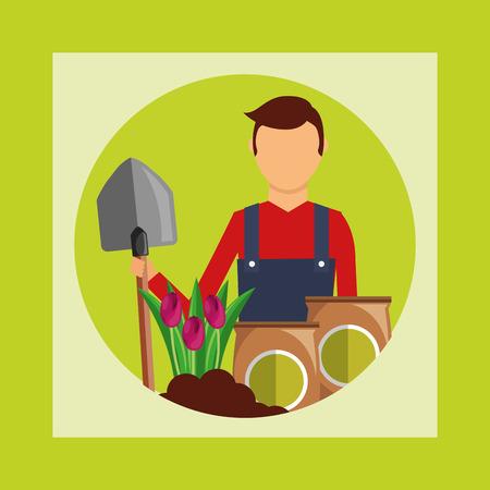 gardener holds shovel and potting soil flowers gardening vector illustration Illustration