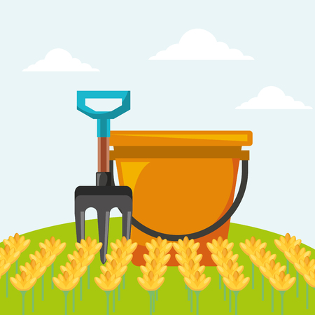 bucket fork and flowers garden vector illustration