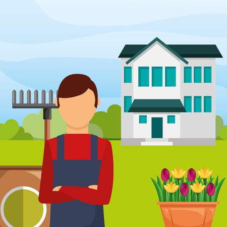 gardener man in the garden house rake flowers gardening vector illustration  イラスト・ベクター素材