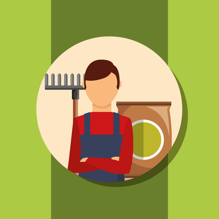 gardener man portrait with rake and package soil vector illustration