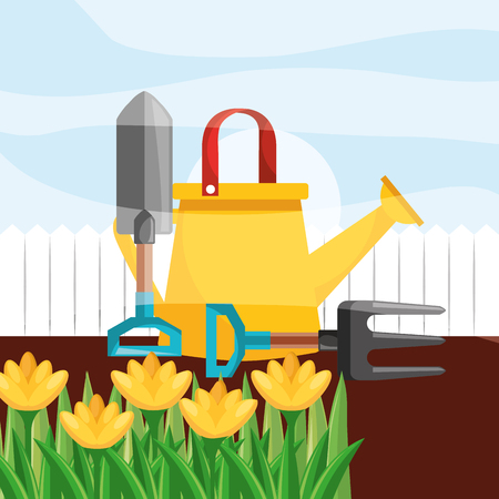 watering can shovel fork yellow flowers gardening vector illustration Illustration