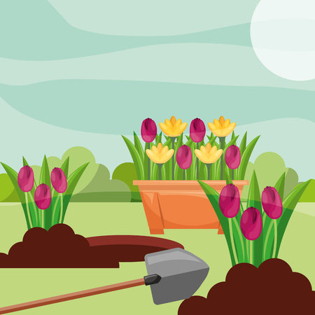 potted tulips planting flowers shovel gardening vector illustration 矢量图像