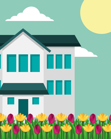 house with two story and tulips flowers garden vector illustration