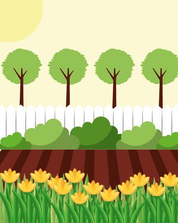 jardin avec clôture de jardin de fleurs et arbres vector illustration