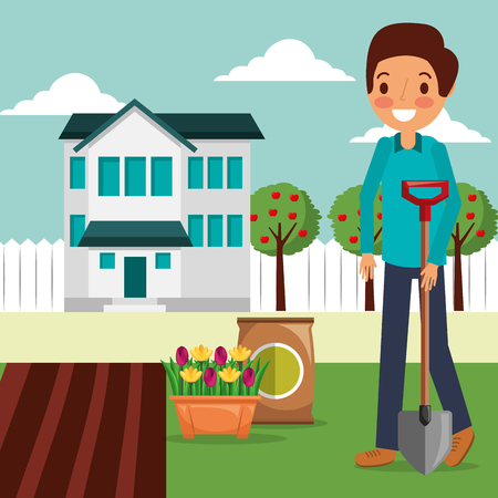 man garden house planting flowers with shovel vector illustration Stock Vector - 106117278