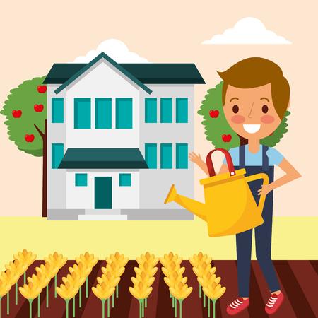cute gardener boy watering flowers in the house garden vector illustration Illusztráció