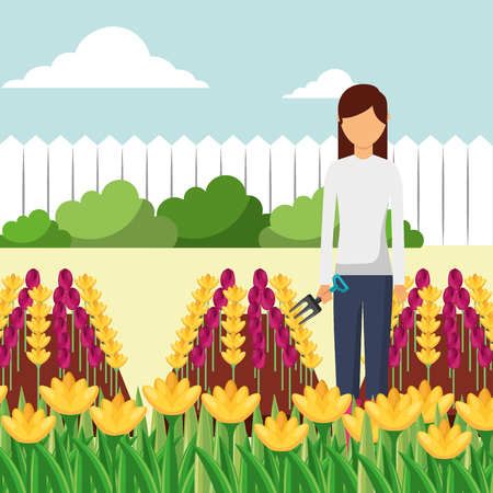 gardener woman with fork working in the garden vector illustration