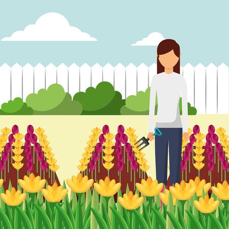 gardener woman with fork working in the garden vector illustration Stockfoto - 112133787