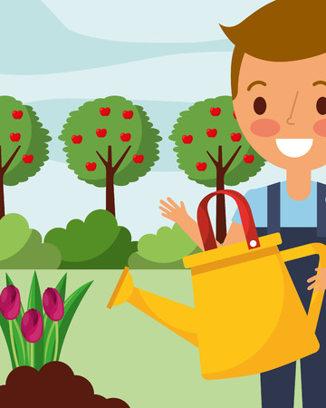 little boy watering tulips flowers gardening vector illustration Ilustração