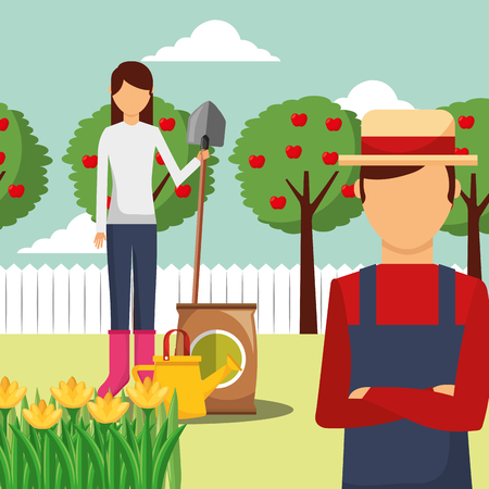gardener man and woman with shovel potting soil and apple trees vector illustration Banque d'images - 112133789