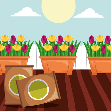 potted flowers and potting soil tools gardening vector illustration