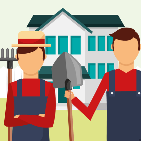 gardeners man with rake and shovel tools gardening vector illustration Иллюстрация