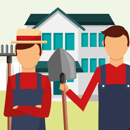 ogrodnicy, człowiek, z, grabie, i, łopata, narzędzia, ogrodnictwo, wektor, ilustracja