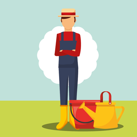 gardener folded arms with bucket and watering can vector illustration Stock Illustratie