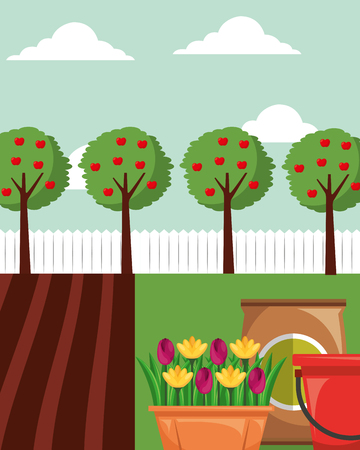 gardening apple trees flowers in pot potting soil and bucket vector illustration Ilustração