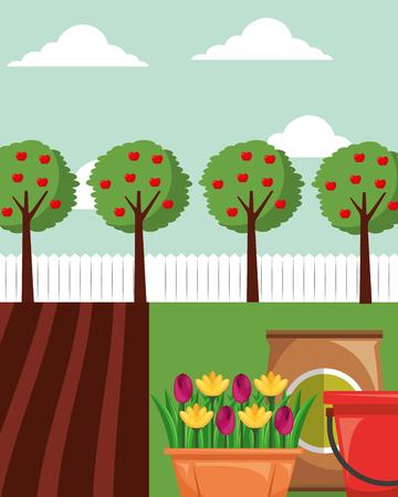 gardening apple trees flowers in pot potting soil and bucket vector illustration Illustration