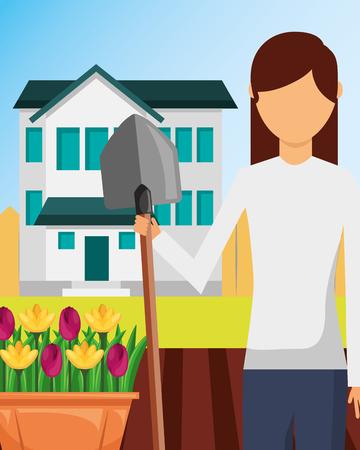 gardener woman with shovel garden flowers and house vector illustration