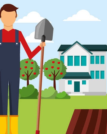 gardener man holds shovel apple trees and house gardening vector illustration Ilustracje wektorowe