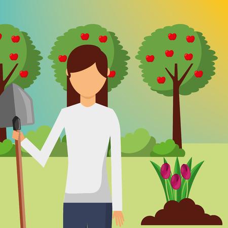 gardener woman with shovel planting in the garden vector illustration