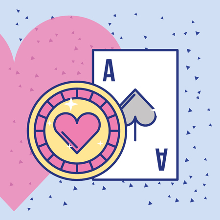 casino ace card and chip cartoon vector illustration Illusztráció