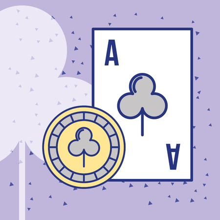 casino ace card and chip cartoon vector illustration Çizim